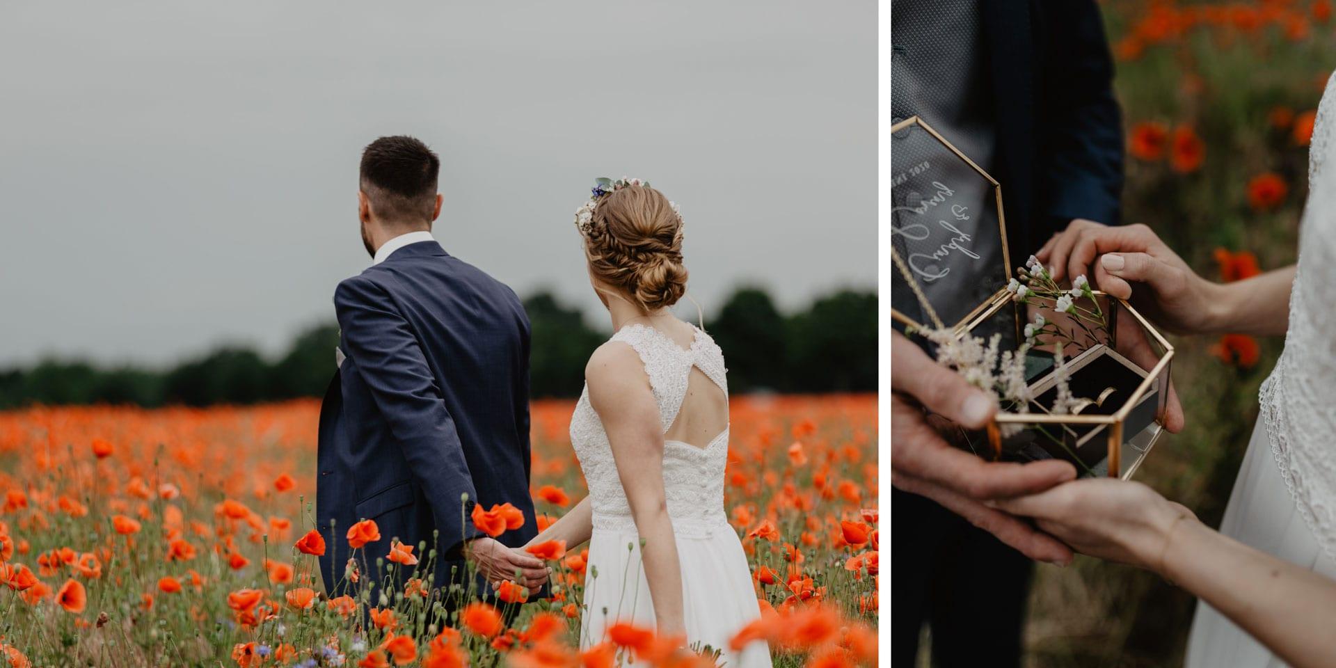 Hochzeitsfotos von Brautpaar in Mohnfeld bei Berlin Hochzeitsfotograf