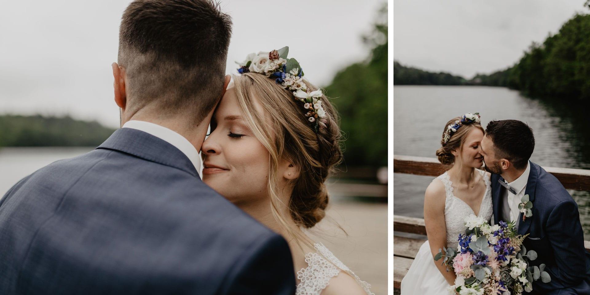 Brautpaar Fotoshooting an einem See in Biesenthal Wukensee bei Berlin