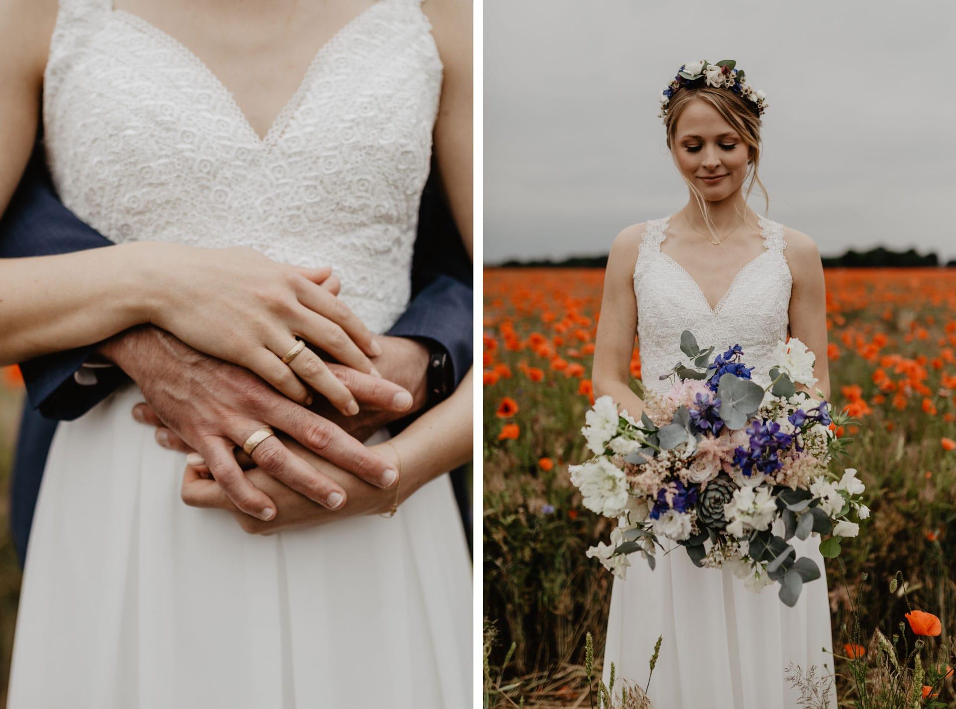Hochzeitsfotos von Brautpaar in Mohnfeld bei Berlin von Hochzeitsfotograf
