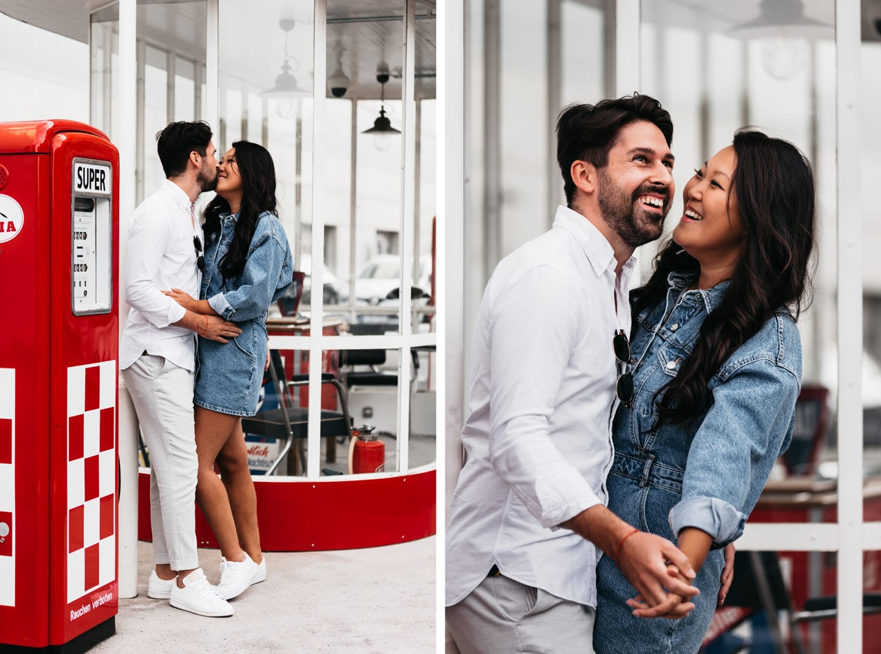 Fotoshooting mit Paar an der Alten Tankstelle Frankfurt