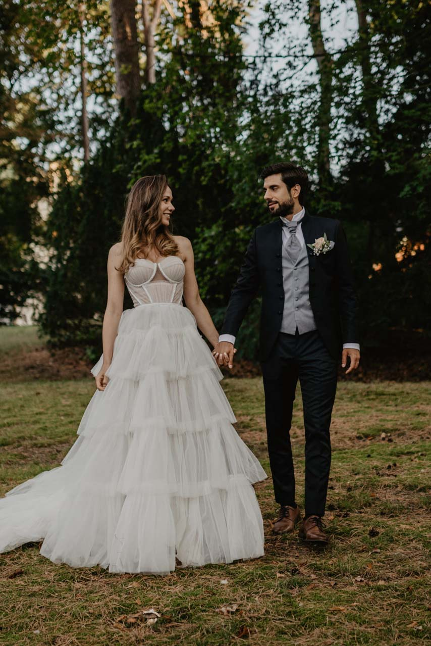 Brautpaar bei Hochzeit in der Villa Blumenfisch am Wannsee Berlin