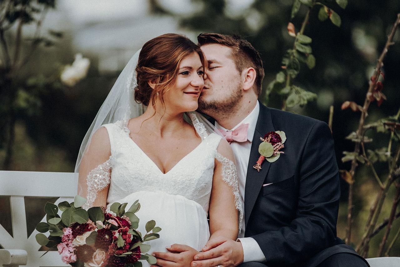 Trauung und Hochzeitsfotos mit Brautpaar im Palmengarten in Frankfurt